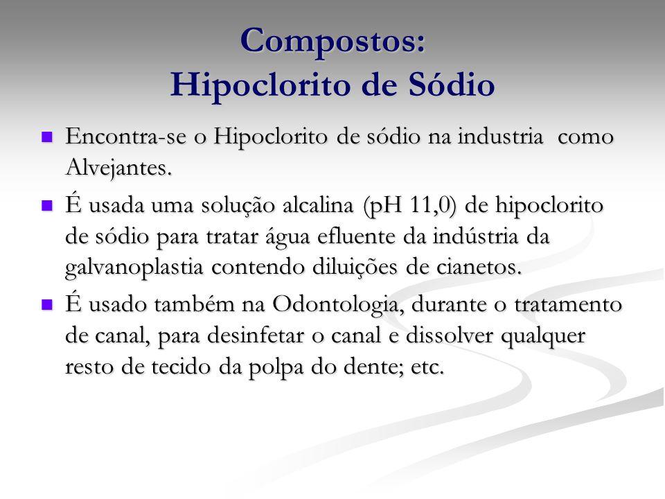 Compostos: Hipoclorito de Sódio Encontra-se o Hipoclorito de sódio na industria como Alvejantes. Encontra-se o Hipoclorito de sódio na industria como