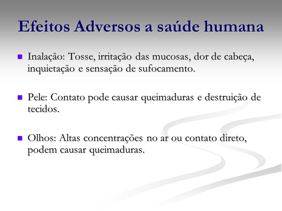 Efeitos Adversos a saúde humana Inalação: Tosse, irritação das mucosas, dor de cabeça, inquietação e sensação de sufocamento. Inalação: Tosse, irritaç