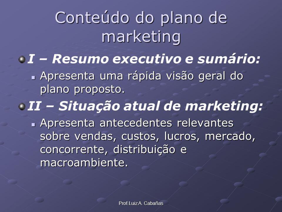 Prof.Luiz A. Cabañas Conteúdo do plano de marketing I – Resumo executivo e sumário: Apresenta uma rápida visão geral do plano proposto. Apresenta uma