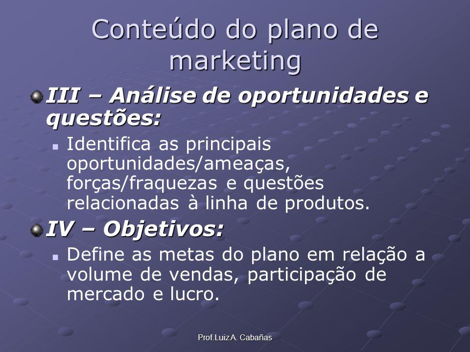 Prof.Luiz A. Cabañas Conteúdo do plano de marketing III – Análise de oportunidades e questões: Identifica as principais oportunidades/ameaças, forças/
