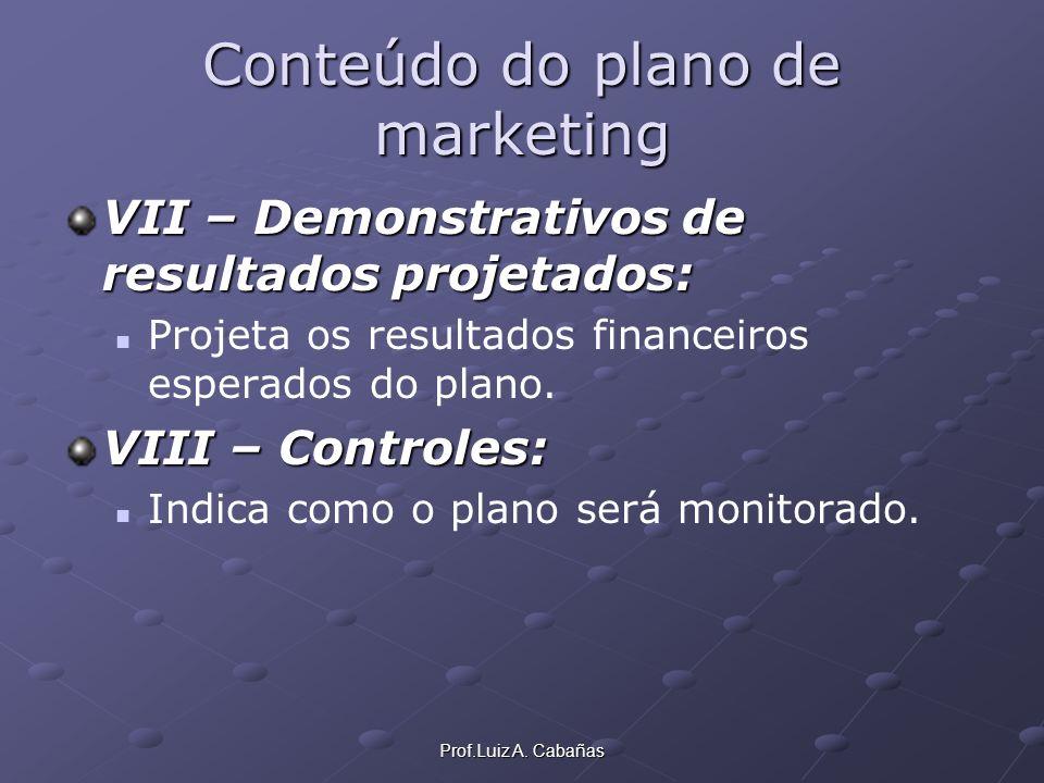 Prof.Luiz A. Cabañas Conteúdo do plano de marketing VII – Demonstrativos de resultados projetados: Projeta os resultados financeiros esperados do plan