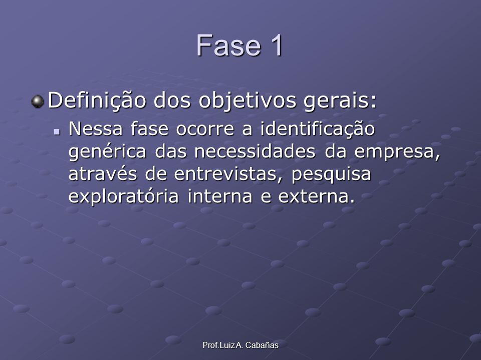 Prof.Luiz A. Cabañas Fase 1 Definição dos objetivos gerais: Nessa fase ocorre a identificação genérica das necessidades da empresa, através de entrevi