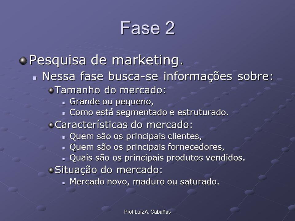 Prof.Luiz A. Cabañas Fase 2 Pesquisa de marketing. Nessa fase busca-se informações sobre: Tamanho do mercado: Grande ou pequeno, Como está segmentado