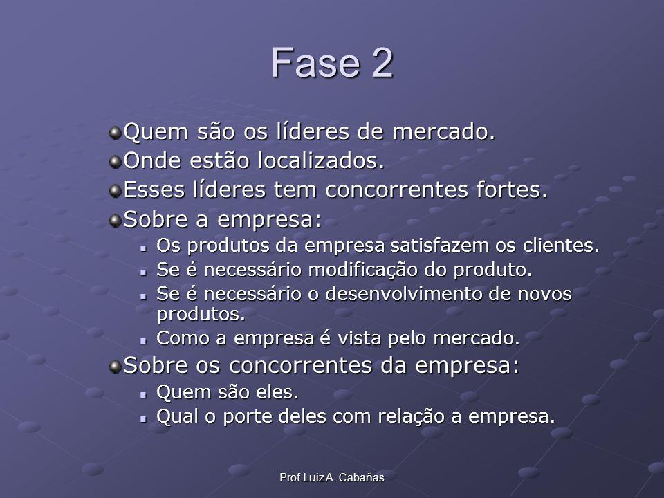 Prof.Luiz A. Cabañas Fase 2 Quem são os líderes de mercado. Onde estão localizados. Esses líderes tem concorrentes fortes. Sobre a empresa: Os produto