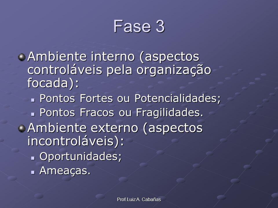 Prof.Luiz A. Cabañas Fase 3 Ambiente interno (aspectos controláveis pela organização focada): Pontos Fortes ou Potencialidades; Pontos Fortes ou Poten