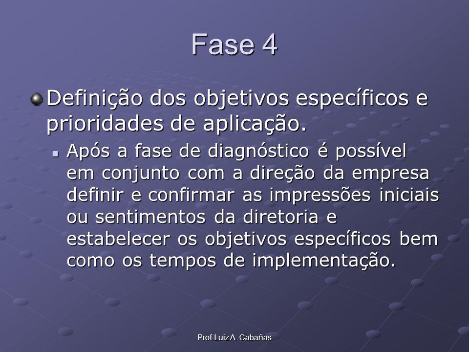 Prof.Luiz A. Cabañas Fase 4 Definição dos objetivos específicos e prioridades de aplicação. Após a fase de diagnóstico é possível em conjunto com a di