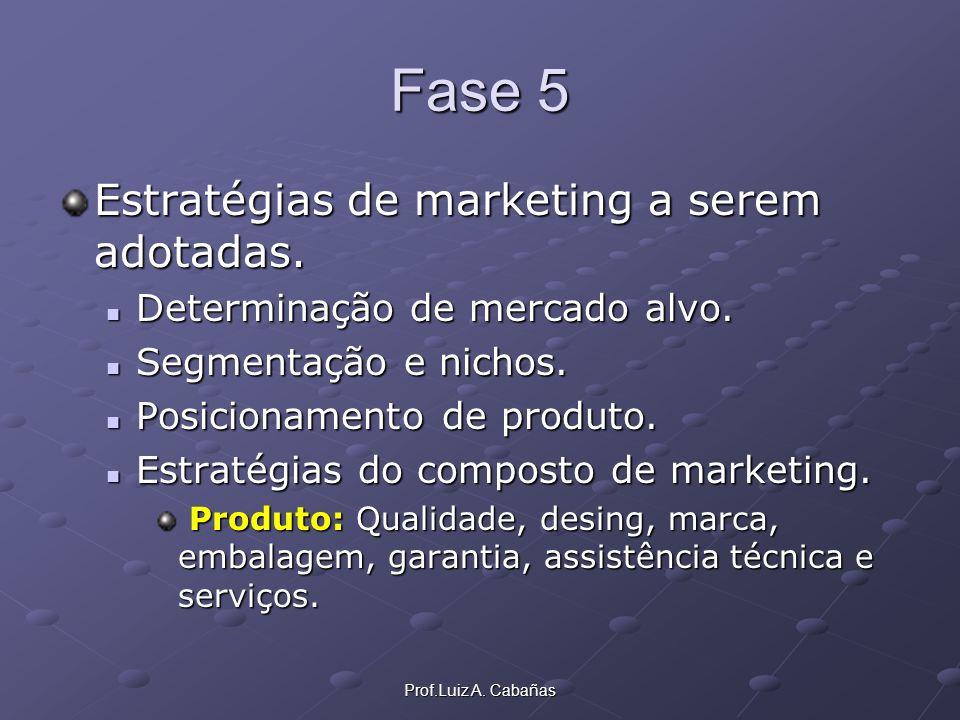 Prof.Luiz A. Cabañas Fase 5 Estratégias de marketing a serem adotadas. Determinação de mercado alvo. Determinação de mercado alvo. Segmentação e nicho