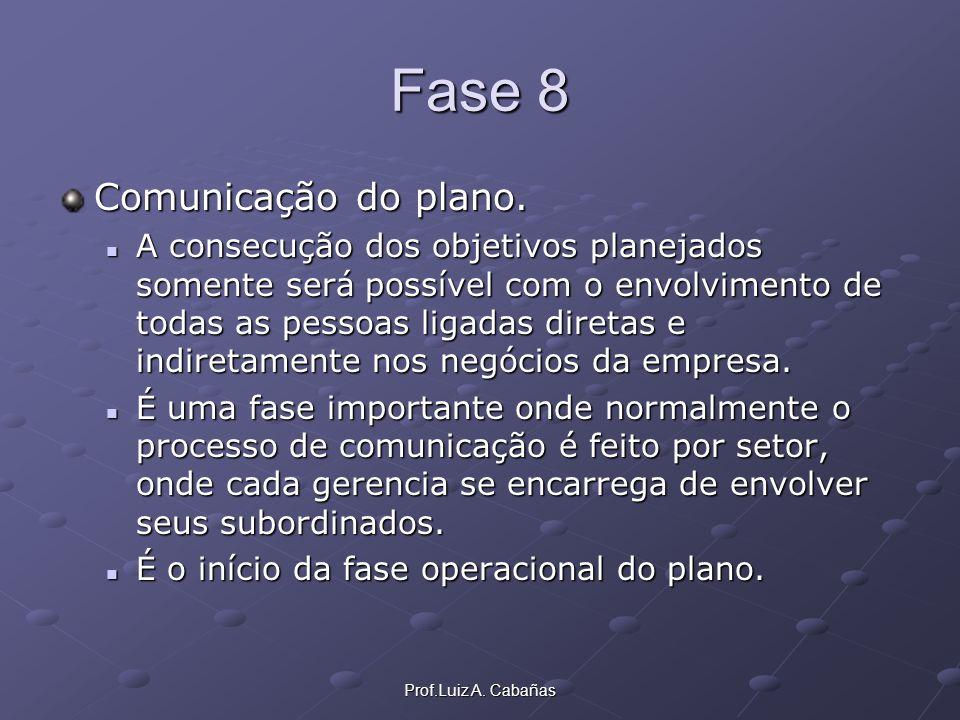 Prof.Luiz A. Cabañas Fase 8 Comunicação do plano. A consecução dos objetivos planejados somente será possível com o envolvimento de todas as pessoas l