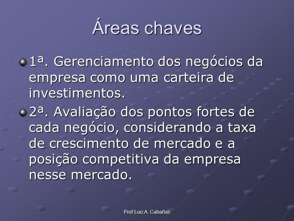 Prof.Luiz A. Cabañas Áreas chaves 1ª. Gerenciamento dos negócios da empresa como uma carteira de investimentos. 2ª. Avaliação dos pontos fortes de cad