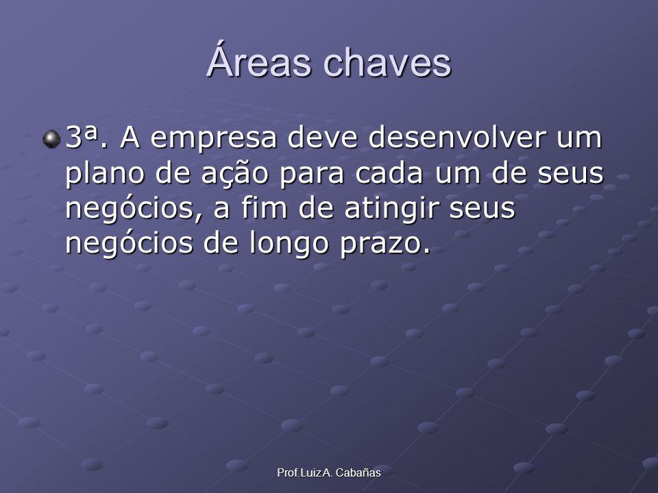 Prof.Luiz A. Cabañas Áreas chaves 3ª. A empresa deve desenvolver um plano de ação para cada um de seus negócios, a fim de atingir seus negócios de lon