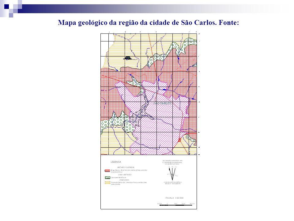 Mapa geológico da região da cidade de São Carlos. Fonte: