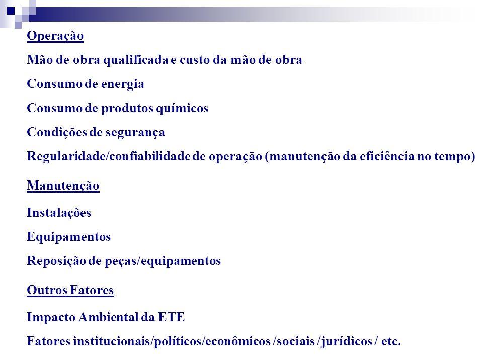 Operação Mão de obra qualificada e custo da mão de obra Consumo de energia Consumo de produtos químicos Condições de segurança Regularidade/confiabili