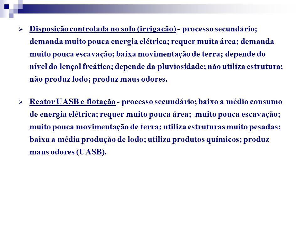 Disposição controlada no solo (irrigação) - processo secundário; demanda muito pouca energia elétrica; requer muita área; demanda muito pouca escavaçã