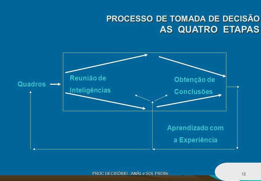 PROC DECISÓRIO - ANÁL e SOL PROBs12 Reunião de Inteligências Obtenção de Conclusões Aprendizado com a Experiência Quadros PROCESSO DE TOMADA DE DECISÃ