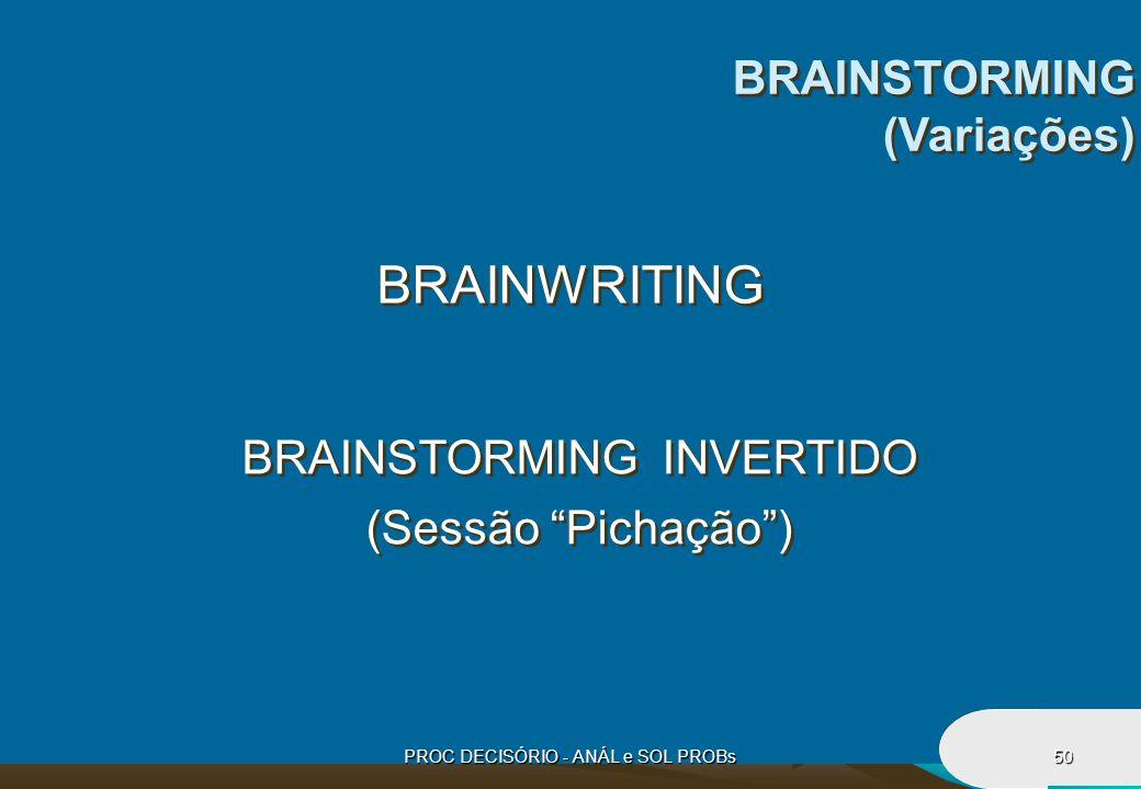 PROC DECISÓRIO - ANÁL e SOL PROBs50 BRAINWRITING BRAINSTORMING INVERTIDO (Sessão Pichação) BRAINSTORMING INVERTIDO (Sessão Pichação) BRAINSTORMING (Va