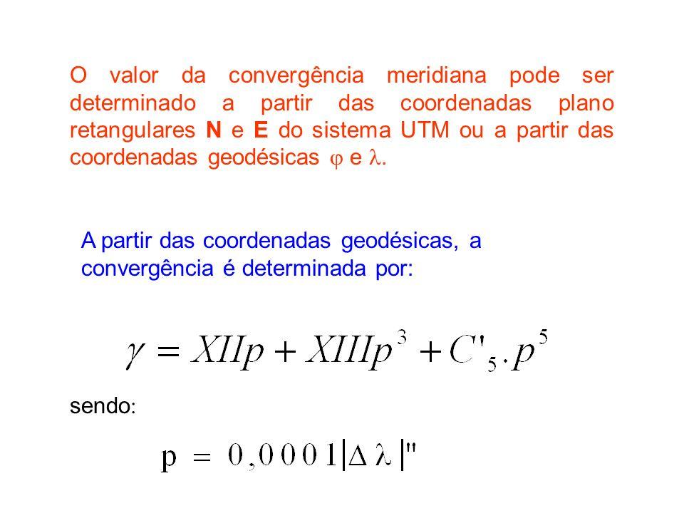 O valor da convergência meridiana pode ser determinado a partir das coordenadas plano retangulares N e E do sistema UTM ou a partir das coordenadas geodésicas e.
