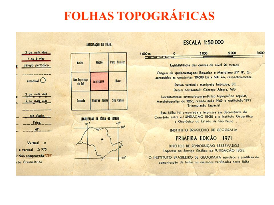 FOLHAS TOPOGRÁFICAS