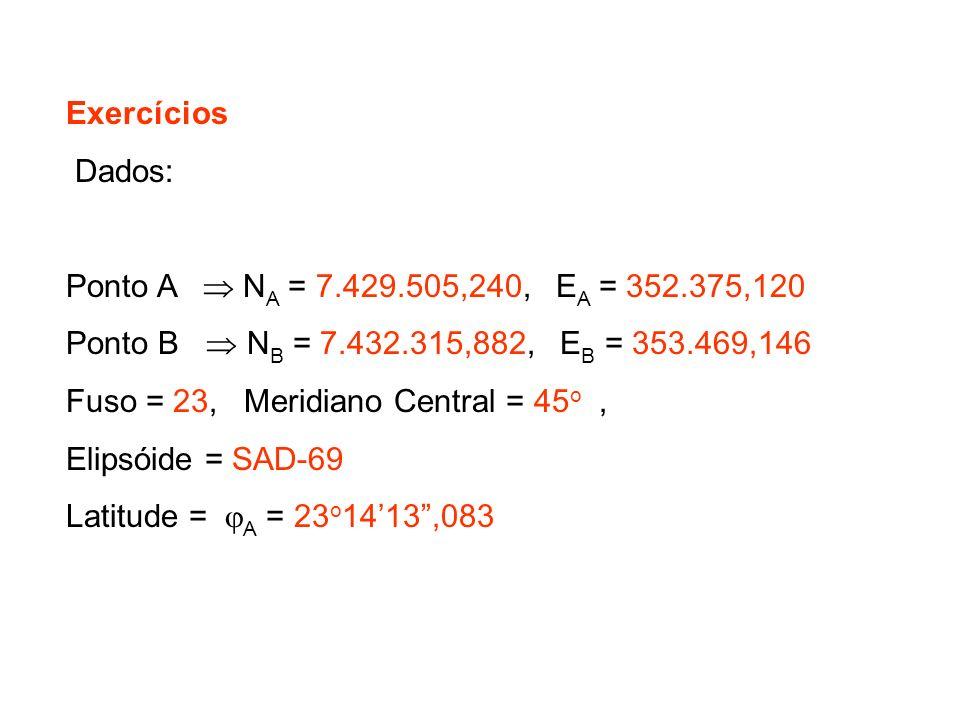 Exercícios Dados: Ponto A N A = 7.429.505,240, E A = 352.375,120 Ponto B N B = 7.432.315,882, E B = 353.469,146 Fuso = 23, Meridiano Central = 45 o, Elipsóide = SAD-69 Latitude = A = 23 o 1413,083