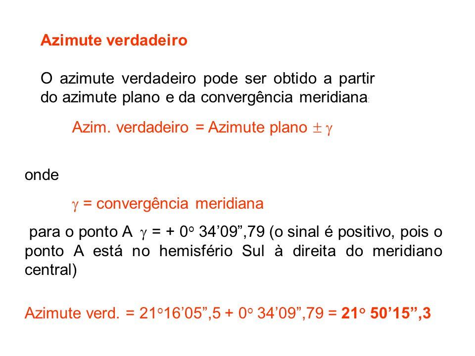 Azimute verdadeiro O azimute verdadeiro pode ser obtido a partir do azimute plano e da convergência meridiana : Azim.