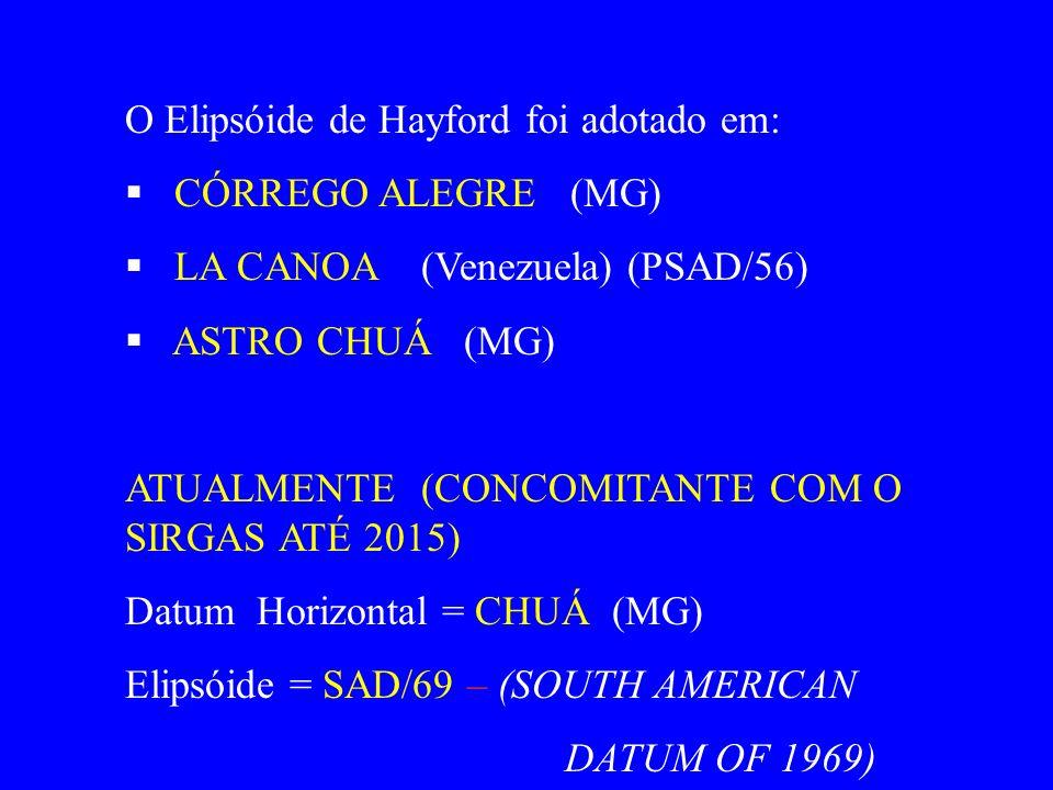 O Elipsóide de Hayford foi adotado em: CÓRREGO ALEGRE (MG) LA CANOA (Venezuela) (PSAD/56) ASTRO CHUÁ (MG) ATUALMENTE (CONCOMITANTE COM O SIRGAS ATÉ 2015) Datum Horizontal = CHUÁ (MG) Elipsóide = SAD/69 – (SOUTH AMERICAN DATUM OF 1969)