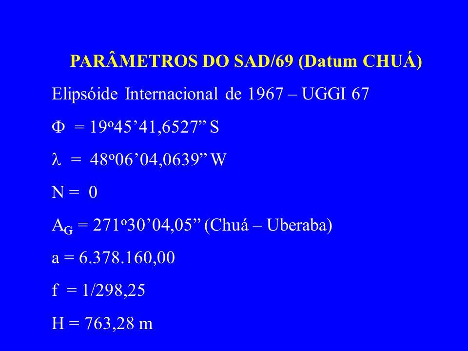 PARÂMETROS DO SAD/69 (Datum CHUÁ) Elipsóide Internacional de 1967 – UGGI 67 = 19 o 4541,6527 S = 48 o 0604,0639 W N = 0 A G = 271 o 3004,05 (Chuá – Uberaba) a = 6.378.160,00 f = 1/298,25 H = 763,28 m