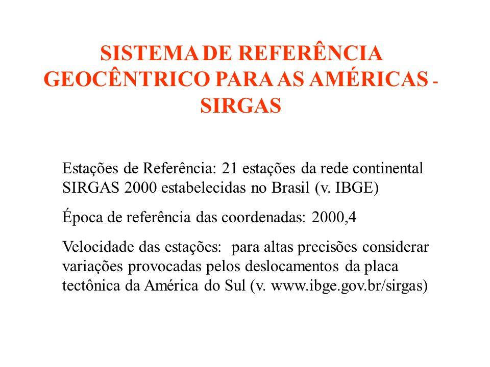 SISTEMA DE REFERÊNCIA GEOCÊNTRICO PARA AS AMÉRICAS - SIRGAS Estações de Referência: 21 estações da rede continental SIRGAS 2000 estabelecidas no Brasil (v.