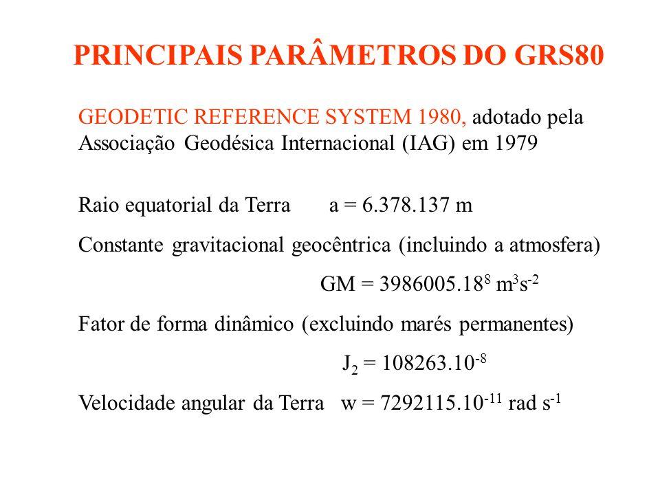 PRINCIPAIS PARÂMETROS DO GRS80 GEODETIC REFERENCE SYSTEM 1980, adotado pela Associação Geodésica Internacional (IAG) em 1979 Raio equatorial da Terra a = 6.378.137 m Constante gravitacional geocêntrica (incluindo a atmosfera) GM = 3986005.18 8 m 3 s -2 Fator de forma dinâmico (excluindo marés permanentes) J 2 = 108263.10 -8 Velocidade angular da Terra w = 7292115.10 -11 rad s -1
