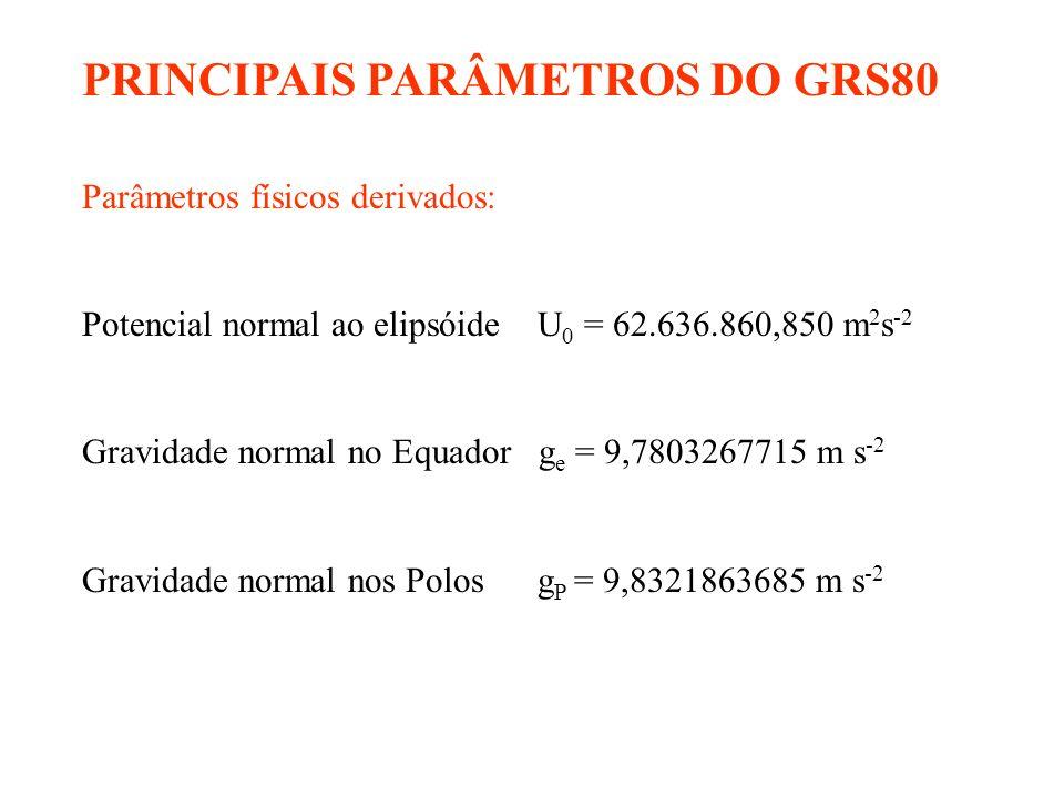 PRINCIPAIS PARÂMETROS DO GRS80 Parâmetros físicos derivados: Potencial normal ao elipsóide U 0 = 62.636.860,850 m 2 s -2 Gravidade normal no Equador g e = 9,7803267715 m s -2 Gravidade normal nos Polos g P = 9,8321863685 m s -2