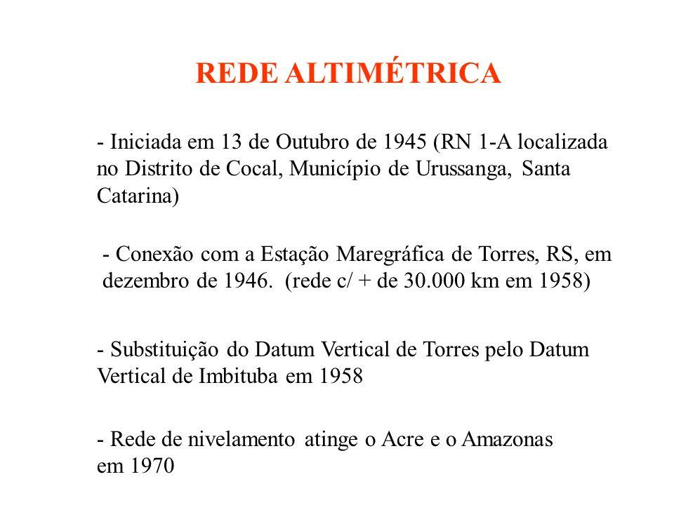 REDE ALTIMÉTRICA - Iniciada em 13 de Outubro de 1945 (RN 1-A localizada no Distrito de Cocal, Município de Urussanga, Santa Catarina) - Conexão com a Estação Maregráfica de Torres, RS, em dezembro de 1946.