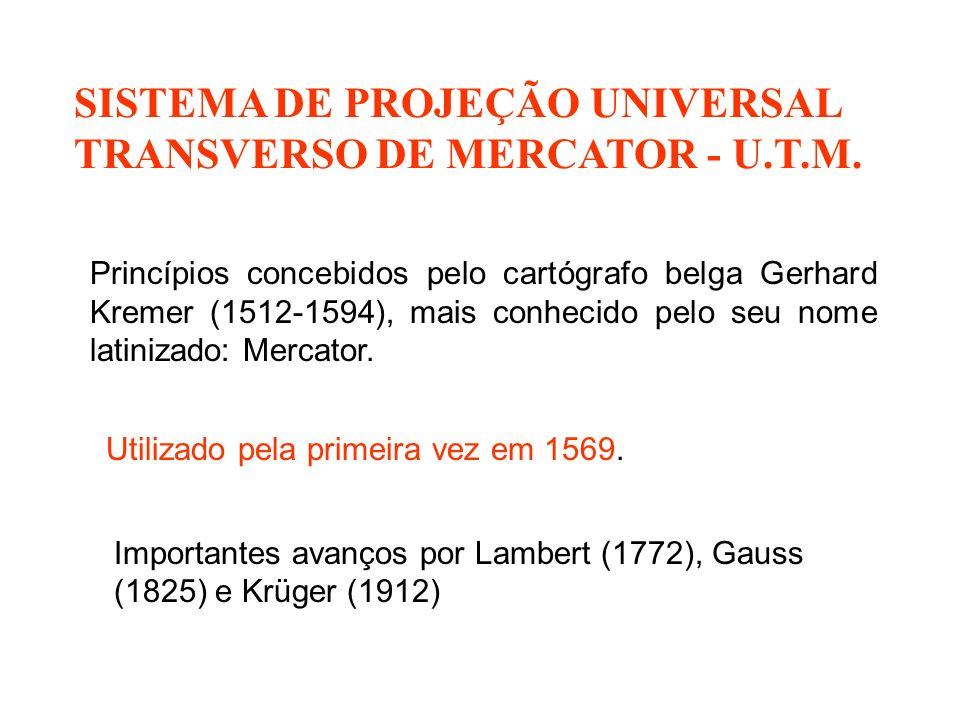 SISTEMA DE PROJEÇÃO UNIVERSAL TRANSVERSO DE MERCATOR - U.T.M.