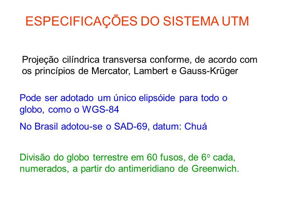 ESPECIFICAÇÕES DO SISTEMA UTM Projeção cilíndrica transversa conforme, de acordo com os princípios de Mercator, Lambert e Gauss-Krüger Pode ser adotado um único elipsóide para todo o globo, como o WGS-84 No Brasil adotou-se o SAD-69, datum: Chuá Divisão do globo terrestre em 60 fusos, de 6 o cada, numerados, a partir do antimeridiano de Greenwich.