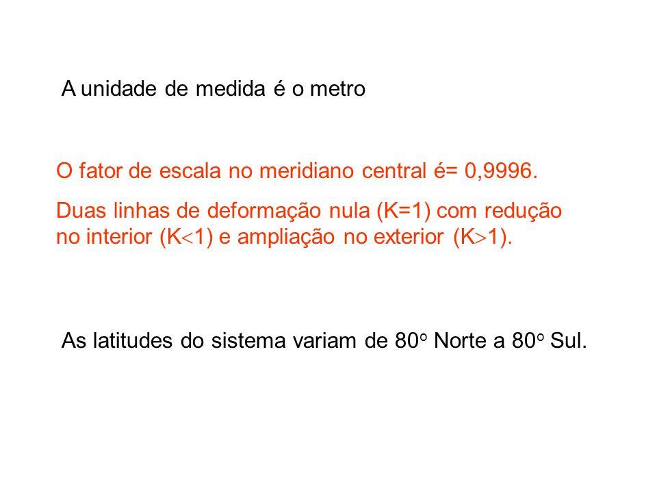 A unidade de medida é o metro O fator de escala no meridiano central é= 0,9996.