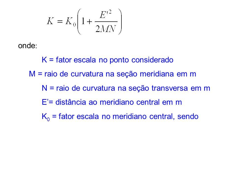 onde : K = fator escala no ponto considerado M = raio de curvatura na seção meridiana em m N = raio de curvatura na seção transversa em m E= distância ao meridiano central em m K 0 = fator escala no meridiano central, sendo