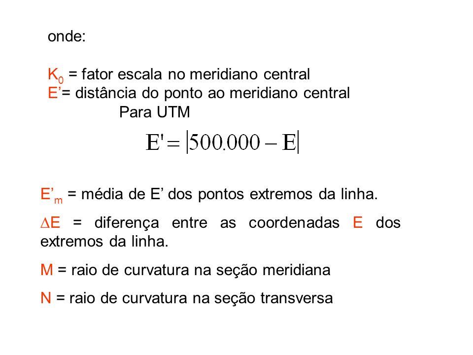 onde: K 0 = fator escala no meridiano central E= distância do ponto ao meridiano central Para UTM E m = média de E dos pontos extremos da linha.