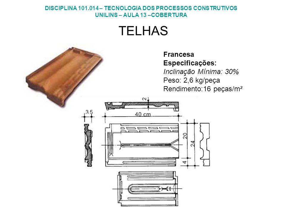 DISCIPLINA 101.014 – TECNOLOGIA DOS PROCESSOS CONSTRUTIVOS UNILINS – AULA 13 –COBERTURA TELHAS Francesa Especificações: Inclinação Mínima: 30% Peso: 2