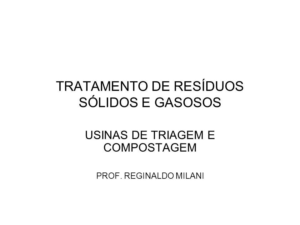 TRATAMENTO DE RESÍDUOS SÓLIDOS E GASOSOS USINAS DE TRIAGEM E COMPOSTAGEM PROF. REGINALDO MILANI