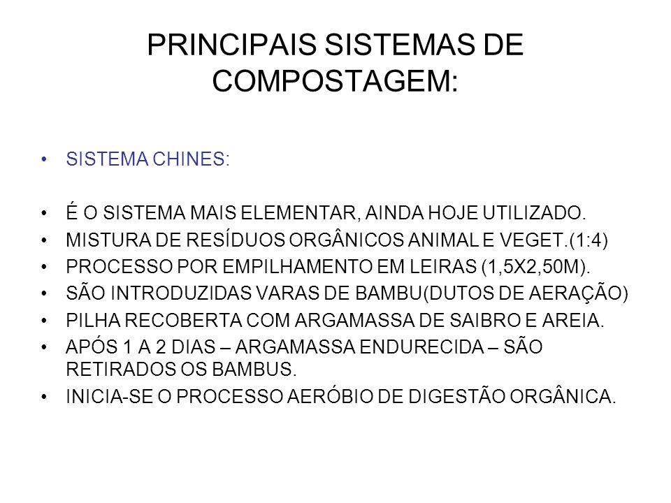 PRINCIPAIS SISTEMAS DE COMPOSTAGEM: SISTEMA CHINES: É O SISTEMA MAIS ELEMENTAR, AINDA HOJE UTILIZADO. MISTURA DE RESÍDUOS ORGÂNICOS ANIMAL E VEGET.(1: