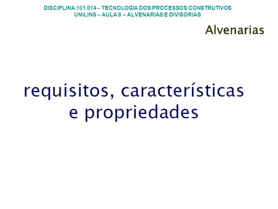 DISCIPLINA 101.014 – TECNOLOGIA DOS PROCESSOS CONSTRUTIVOS UNILINS – AULA 8 – ALVENARIAS E DIVISÓRIAS MUROS Com betoneira Preparo da argamassa para assentamento de alvenaria de vedação