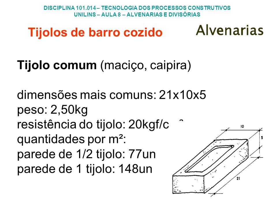 Tijolos de barro cozido Tijolo comum (maciço, caipira) dimensões mais comuns: 21x10x5 peso: 2,50kg resistência do tijolo: 20kgf/cm² quantidades por m²