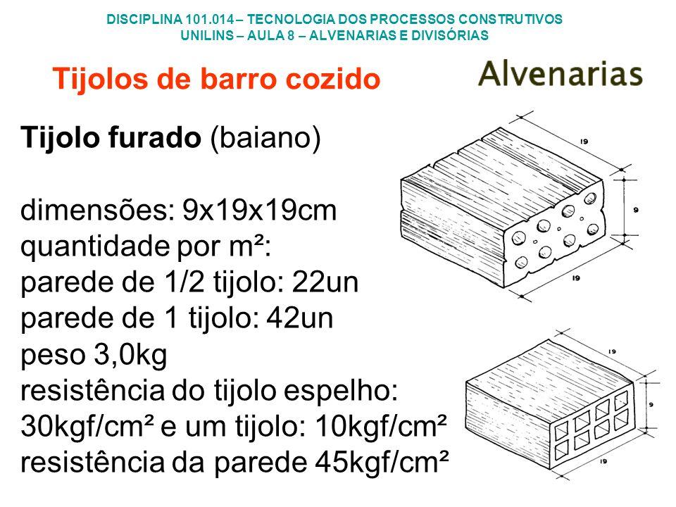 DISCIPLINA 101.014 – TECNOLOGIA DOS PROCESSOS CONSTRUTIVOS UNILINS – AULA 8 – ALVENARIAS E DIVISÓRIAS Tijolos de barro cozido Tijolo furado (baiano) d