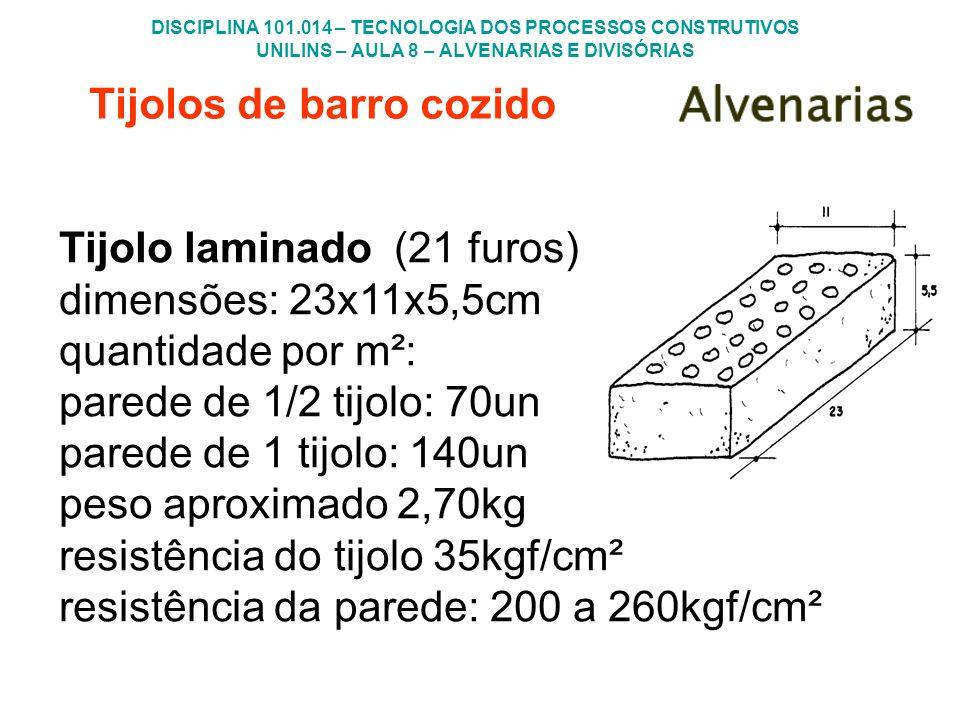 DISCIPLINA 101.014 – TECNOLOGIA DOS PROCESSOS CONSTRUTIVOS UNILINS – AULA 8 – ALVENARIAS E DIVISÓRIAS Tijolos de barro cozido Tijolo laminado (21 furo