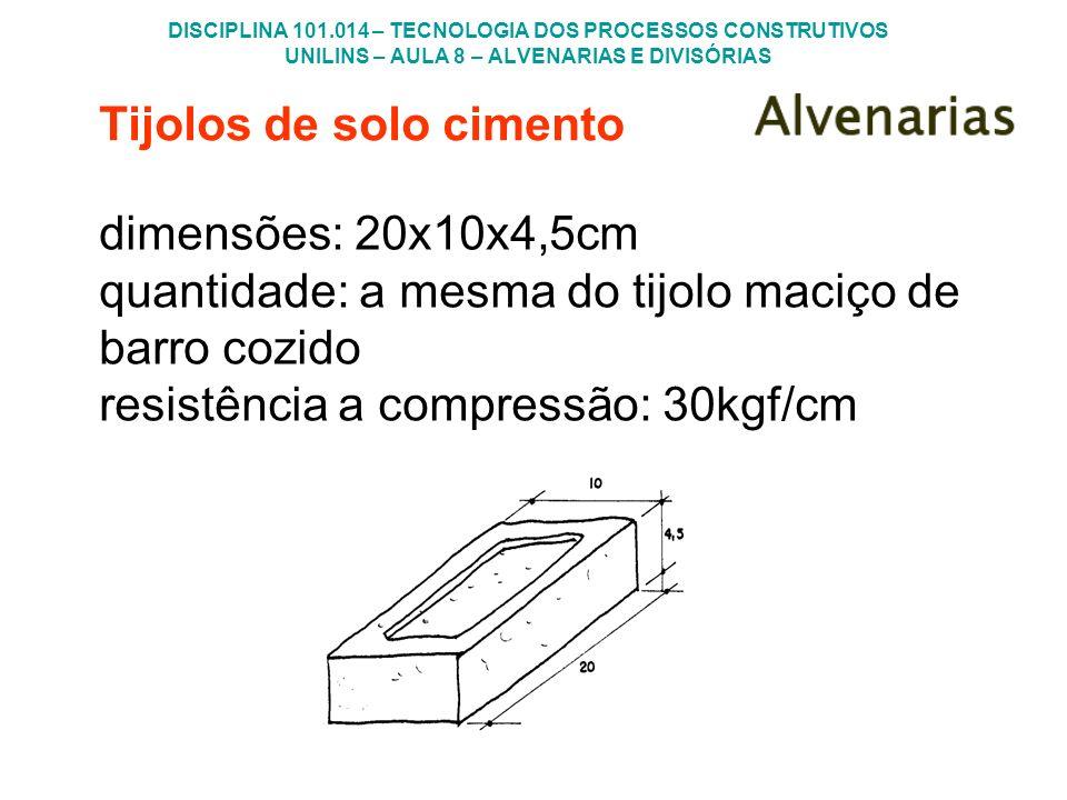 DISCIPLINA 101.014 – TECNOLOGIA DOS PROCESSOS CONSTRUTIVOS UNILINS – AULA 8 – ALVENARIAS E DIVISÓRIAS Tijolos de solo cimento dimensões: 20x10x4,5cm q