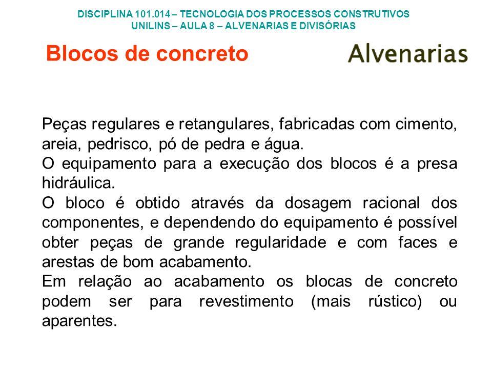 DISCIPLINA 101.014 – TECNOLOGIA DOS PROCESSOS CONSTRUTIVOS UNILINS – AULA 8 – ALVENARIAS E DIVISÓRIAS Blocos de concreto Peças regulares e retangulare
