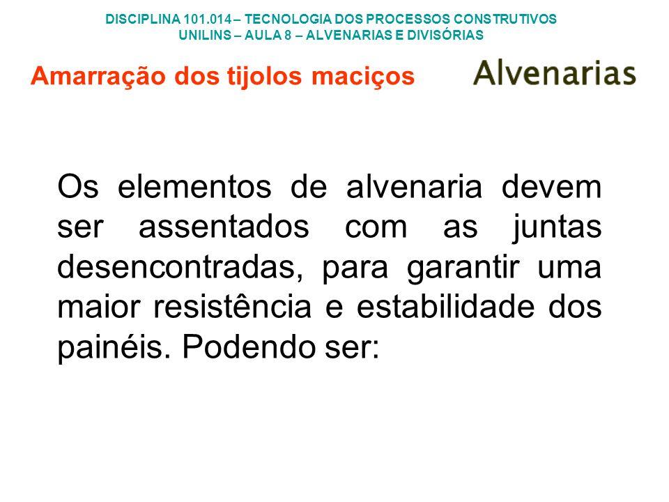 DISCIPLINA 101.014 – TECNOLOGIA DOS PROCESSOS CONSTRUTIVOS UNILINS – AULA 8 – ALVENARIAS E DIVISÓRIAS Os elementos de alvenaria devem ser assentados c