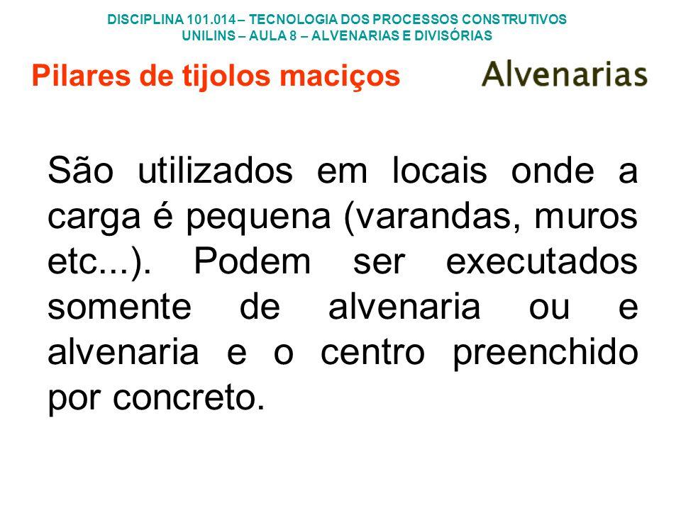 DISCIPLINA 101.014 – TECNOLOGIA DOS PROCESSOS CONSTRUTIVOS UNILINS – AULA 8 – ALVENARIAS E DIVISÓRIAS Pilares de tijolos maciços São utilizados em loc