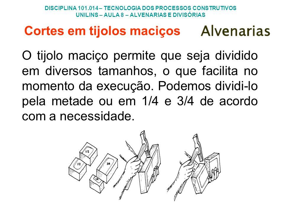 DISCIPLINA 101.014 – TECNOLOGIA DOS PROCESSOS CONSTRUTIVOS UNILINS – AULA 8 – ALVENARIAS E DIVISÓRIAS Cortes em tijolos maciços O tijolo maciço permit