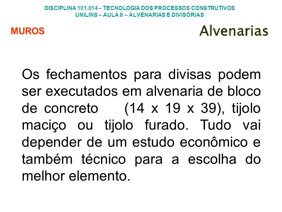 DISCIPLINA 101.014 – TECNOLOGIA DOS PROCESSOS CONSTRUTIVOS UNILINS – AULA 8 – ALVENARIAS E DIVISÓRIAS MUROS Os fechamentos para divisas podem ser exec
