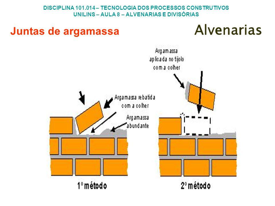 DISCIPLINA 101.014 – TECNOLOGIA DOS PROCESSOS CONSTRUTIVOS UNILINS – AULA 8 – ALVENARIAS E DIVISÓRIAS Juntas de argamassa
