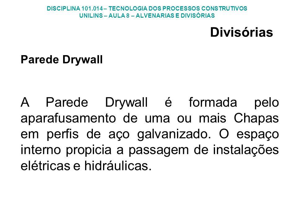 DISCIPLINA 101.014 – TECNOLOGIA DOS PROCESSOS CONSTRUTIVOS UNILINS – AULA 8 – ALVENARIAS E DIVISÓRIAS Parede Drywall A Parede Drywall é formada pelo a