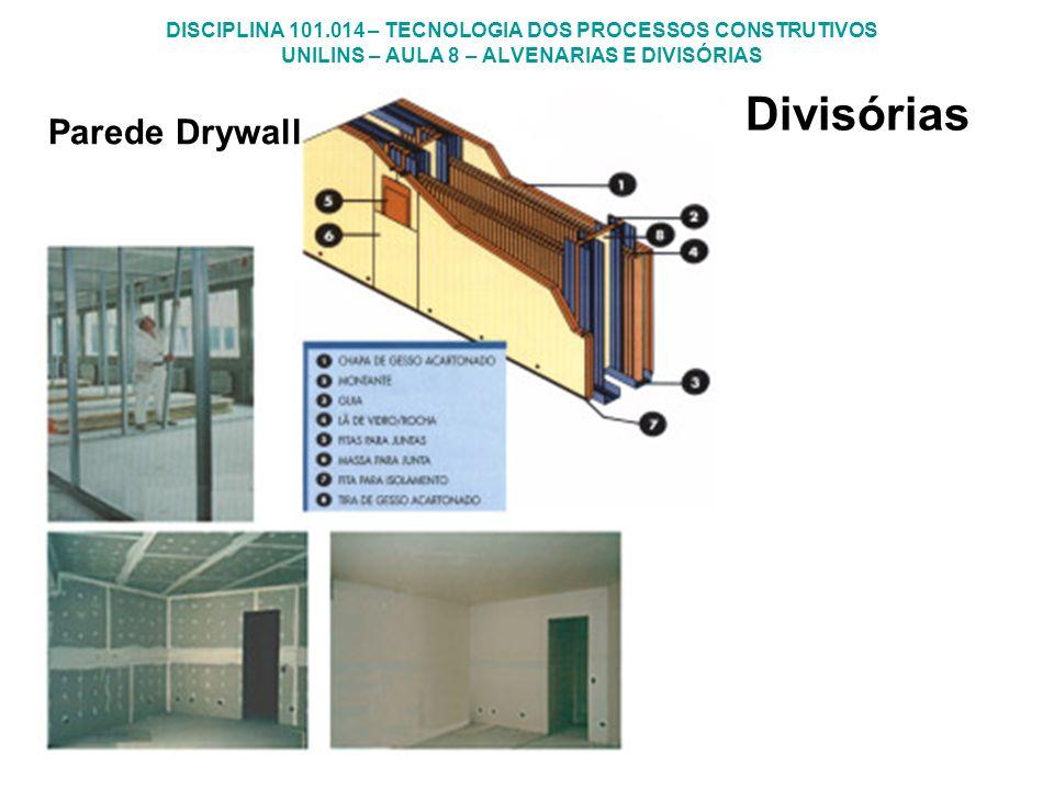 DISCIPLINA 101.014 – TECNOLOGIA DOS PROCESSOS CONSTRUTIVOS UNILINS – AULA 8 – ALVENARIAS E DIVISÓRIAS Divisórias Parede Drywall